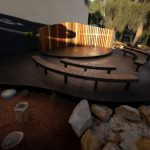 Curved decking landscaping Amphitheatre at Leichhardt Public School